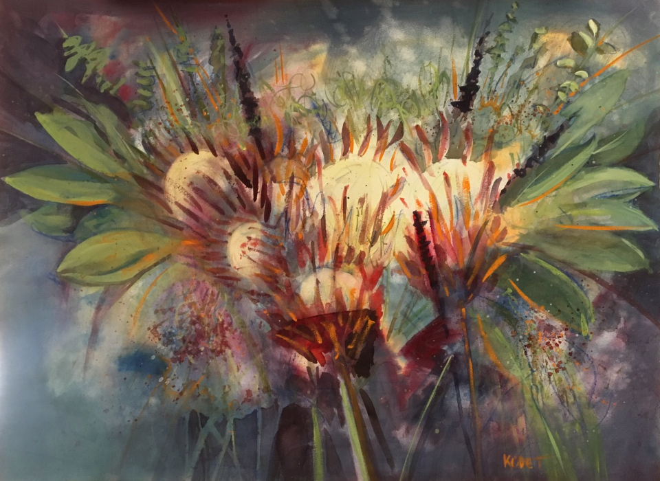 protea watercolor
